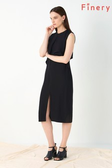 Finery London Black Clifton Midi Dress