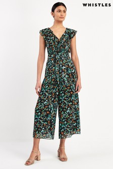 Whistles Forest Floral Print Frill Jumpsuit