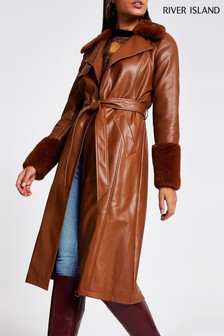 River Island Tan Faux Fur Cuff Trench Coat