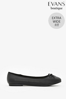 Evans Extra Wide Fit Black Textured Ballet Pumps