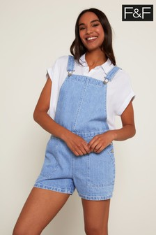 F&F Light Wash Dungaree Shorts