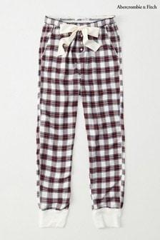 Abercrombie & Fitch Cream Plaid Pyjama Bottoms