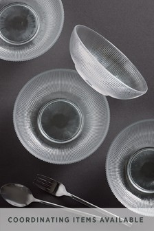 Embossed Glass Set of 4 Cereal Bowls