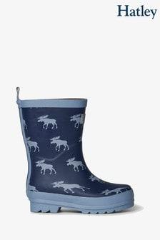 Hatley Blue Moose Silhouettes Matte Rain Boots