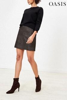 Oasis Black Dogtooth Sparkle Skirt