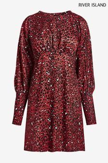 River Island Brown Leopard Front Split Mini Dress