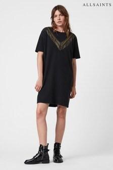 AllSaints Black Chain Cotton Tee Dress