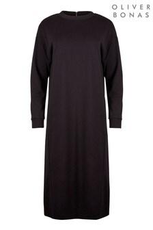 Oliver Bonas Black Zip Detail Midi Sweat Dress