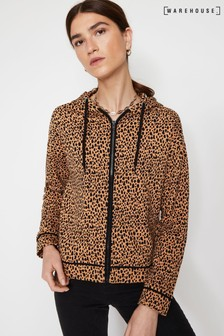 Warehouse Animal Cheetah Print Beach Hoody