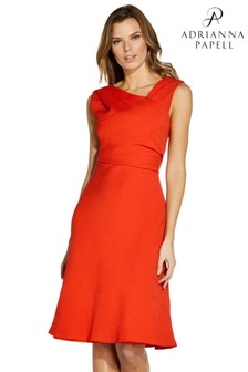 Adrianna Papell Red Pleated Woven Draped Dress