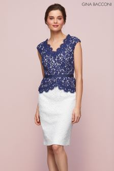 Gina Bacconi Navy Audrey Lace Peplum Dress
