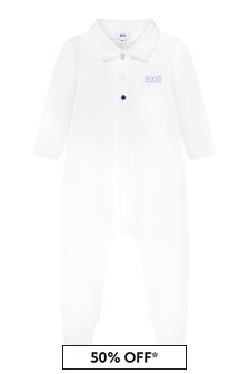 Boss Kidswear Baby Boys White Cotton Babygrow