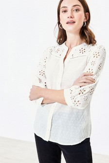 Oasis White Broderie Sleeve Shirt