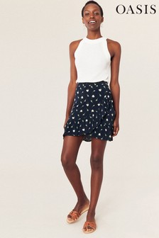 Oasis Blue Ditsy Rose Mini Skirt
