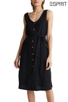 Esprit Black Summer Belted Dress