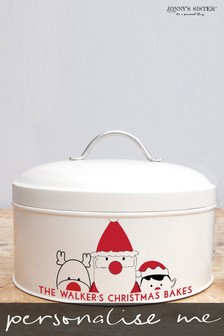 Personalised Christmas Characters Cake Tin by Jonny's Sister
