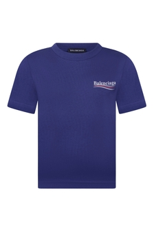 Boys Blue Cotton Logo T-Shirt