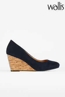 Wallis Waterlilly Navy Round Toe Wedge Court Shoes