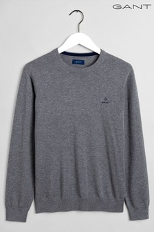 Gant Grey Classic Cotton Crew Neck Top
