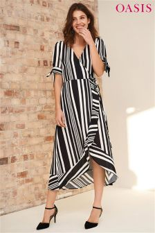 Oasis Black Stripe Wrap Midi Dress