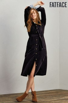 FatFace Black Harlow Cord Midi Dress