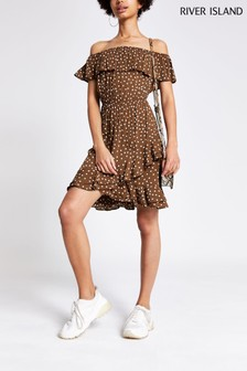 River Island Chocolate Waisted Bardot Floral Dress