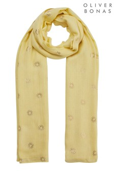 Oliver Bonas Yellow Sundance Foiled Yellow Lightweight Scarf