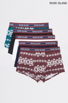 River Island Burgundy Snowflake Hipsters Five Pack