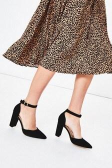 Oasis Black Ankle Strap Heels