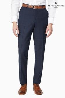 Jeff Banks Blue Plain Front Travel Suit Trousers