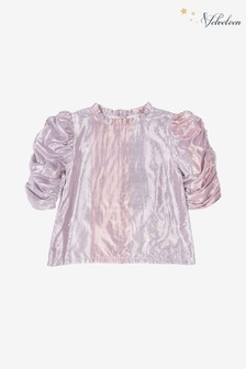 Velveteen Pink Dionne Lame Ruched Sleeve Blouse