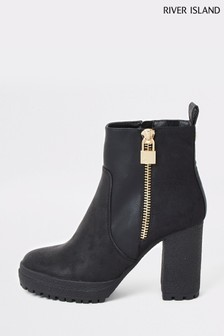 River Island Black Sophie Crepe High Chunky Boots