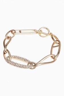 Pave Link Chunky Chain T-Bar Bracelet