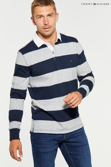 Tommy Hilfiger Grey Iconic Striped Rugby Shirt