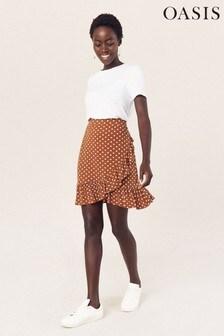 Oasis Brown Spot Ruffle Mini Skirt