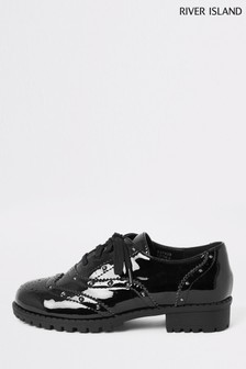 River Island Black Studded Lace-Up Brogue