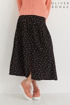 Oliver Bonas Black Ditsy Print Midi Skirt