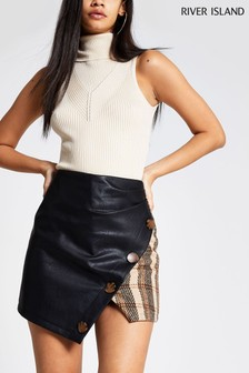 River Island Brown Check Hybrid Wool Skirt