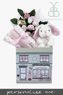 Babyblooms New Baby Pink Welcome Hamper With Personalised Bunny Soft Toy