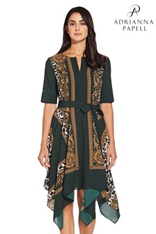 Adrianna Papell Green Medallion Scarf Print Dress