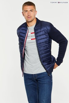 Tommy Hilfiger Blue Mixed Media Baseball Jacket