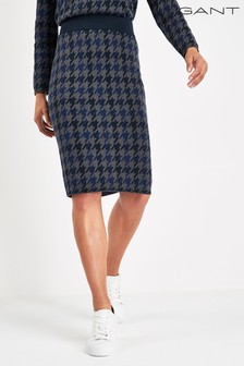 GANT Navy Checked Knitted Skirt