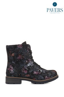 Pavers Black Floral Ladies Lace-Up Ladies Ankle Boots