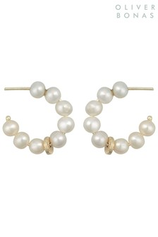 Oliver Bonas White Dottie Pearl & Mini Hoop Earrings