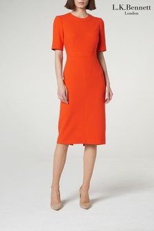 L.K.Bennett Orange Elene Fitted Dress