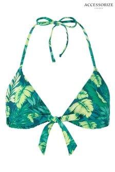 Accessorize Green Leaf Print Tie Front Triangle Bikini