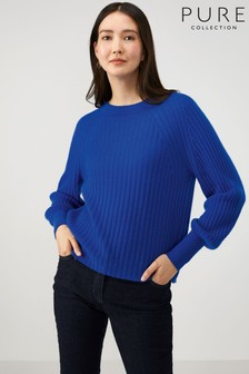 Pure Collection Blue Lofty Cashmere Ribbed Boat Neck Sweater