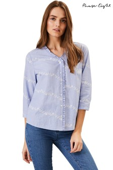 Phase Eight Blue Daisy Embroidered Shirt