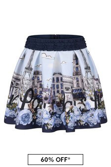 Girls Blue Neoprene Paris Skirt