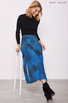 Mint Velvet Blue Elora Box Pleat Midi Skirt